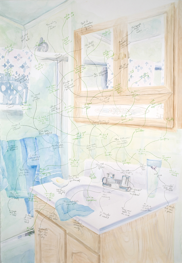 Space (in/out) in my mother's bathroom. 2006, watercolor and pencil on paper, 39 x 27 ¼ inches